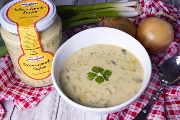 Käse-Lauch-Suppe im Glas